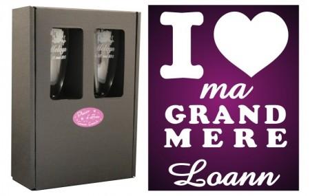 Flûtes J' ♥ ma Grand Mère avec boîte cadeau - Cadeau personnalise personnalisable - 1
