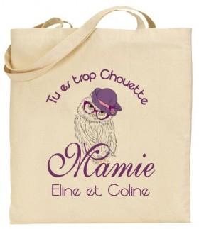 Tote Bag Tu es trop chouette Mamie - Modèle 1 - Cadeau personnalise personnalisable - 1