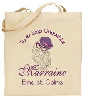 Tote Bag Tu es trop chouette Marraine - Modèle 1 Gravure Events - Cadeau personnalisé - 1