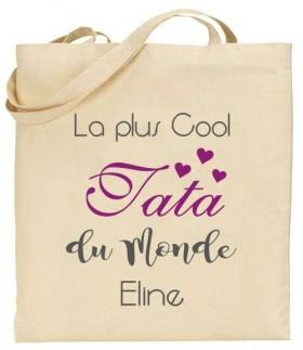 Tote Bag La plus cool Tata du Monde - Modèle 2 - Cadeau personnalise personnalisable - 1