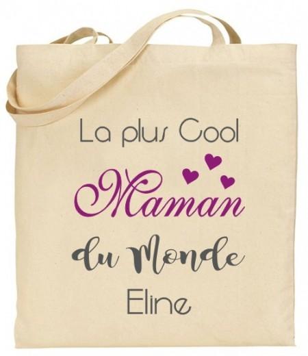 Tote Bag La plus cool Maman du Monde - Modèle 2 - Cadeau personnalise personnalisable - 1