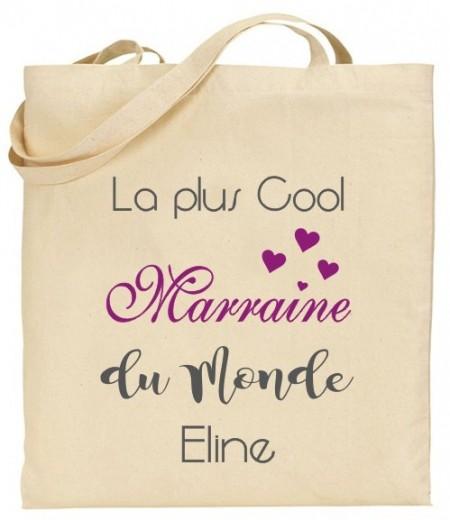 Tote Bag La plus cool Marraine du Monde - Modèle 2 - Cadeau personnalise personnalisable - 1