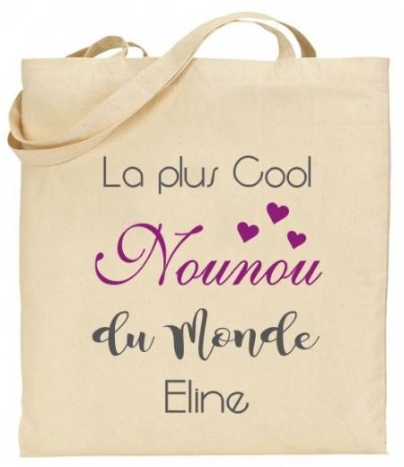 Tote Bag La plus cool Nounou du Monde - Modèle 2 - Cadeau personnalise personnalisable - 1