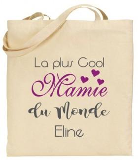 Tote Bag La plus cool Mamie du Monde - Modèle 2 - Cadeau personnalise personnalisable - 1