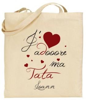 Tote Bag J'adore ma Tata - Modèle 3 - Cadeau personnalise personnalisable - 1