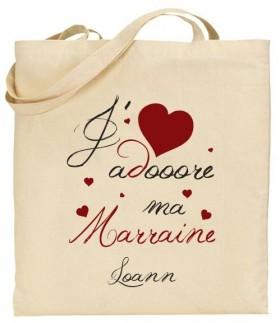 Tote Bag J'adore ma Marraine - je t'adore Cadeau personnalise personnalisable