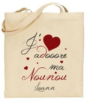 Tote Bag J'adore ma Nounou - Modèle 3 Gravure Events - Cadeau personnalisé - 1
