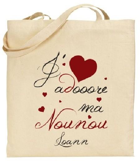 Tote Bag J'adore ma Nounou - Modèle 3 - Cadeau personnalise personnalisable - 1