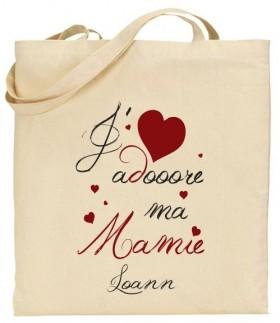 Tote Bag J'adore ma Mamie - Modèle 3 - Cadeau personnalise personnalisable - 1
