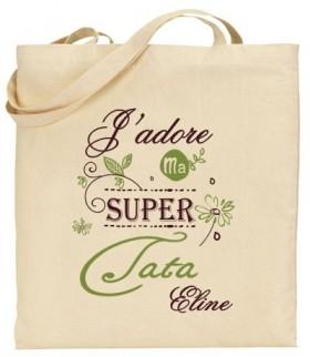 Tote Bag J'adore ma super Tata - Modèle 4 - Cadeau personnalise personnalisable - 1