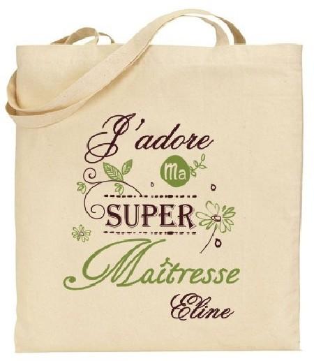 Tote Bag J'adore ma super Maîtresse - Modèle 4 - Cadeau personnalise personnalisable - 1