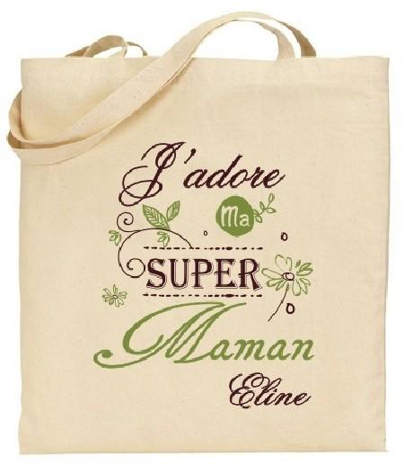Tote Bag J'adore ma super Maman - Modèle 4 - Cadeau personnalise personnalisable - 1