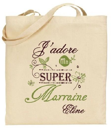 Tote Bag J'adore ma super Marraine - Modèle 4 - Cadeau personnalise personnalisable - 1