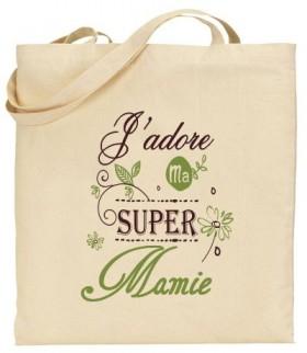 Tote Bag J'adore ma super Mamie - Modèle 4 - Cadeau personnalise personnalisable - 1