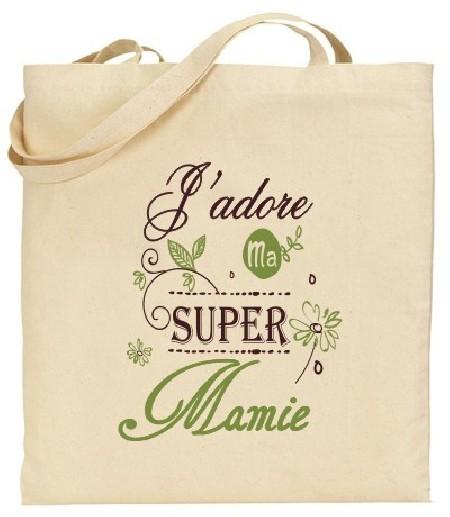 Tote Bag J'adore ma super Mamie - Modèle 4 Gravure Events - Cadeau personnalisé - 1