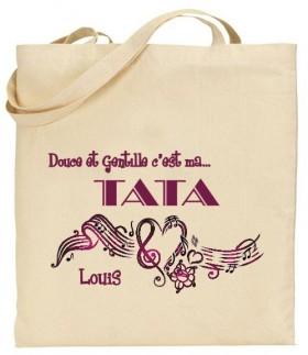Tote Bag Douce et gentille c'est ma Tata - Mod. 5 - Cadeau personnalise personnalisable - 1