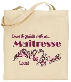Tote Bag Douce et gentille c'est ma Maîtresse - Mod. 5 Gravure Events - Cadeau personnalisé - 1