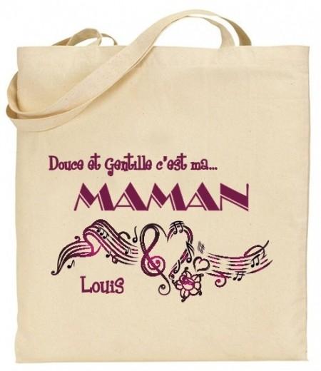 Tote Bag Douce et gentille c'est ma Maman - Mod. 5 Gravure Events - Cadeau personnalisé - 1