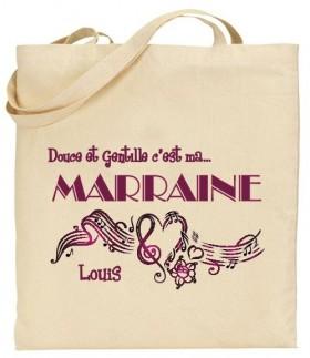 Tote Bag Douce et gentille c'est ma Marraine - Mod. 5 - Cadeau personnalise personnalisable - 1