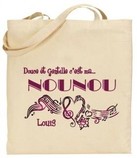 Tote Bag Douce et gentille c'est ma Nounou - Mod. 5 - Cadeau personnalise personnalisable - 1
