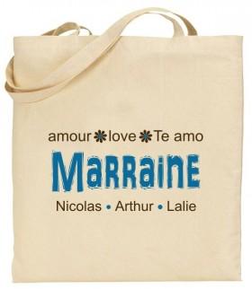 Tote Bag Marraine - Modèle 6 - Cadeau personnalise personnalisable - 1