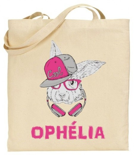 Tote Bag Lapin Rose - Mod. 11 - Cadeau personnalise personnalisable - 1