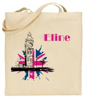 Tote Bag Big Ben Rose - Mod. 8 - Cadeau personnalise personnalisable - 1