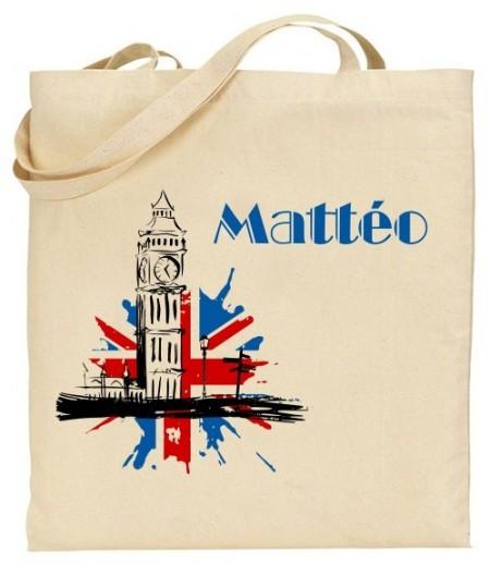 Tote Bag Big Ben Bleu - Mod. 7 - Cadeau personnalise personnalisable - 1