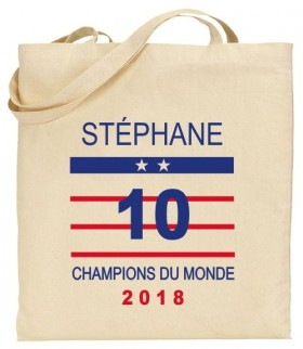 Tote Bag Champion du Monde 2018 - Cadeau personnalise personnalisable - 1