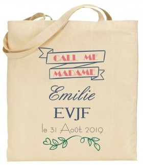 Tote Bag EVJF Call me Madame - Cadeau personnalise personnalisable - 1