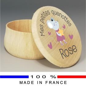 Grande Boite à Dents de Lait en bois souris rose - Cadeau personnalise personnalisable - 1