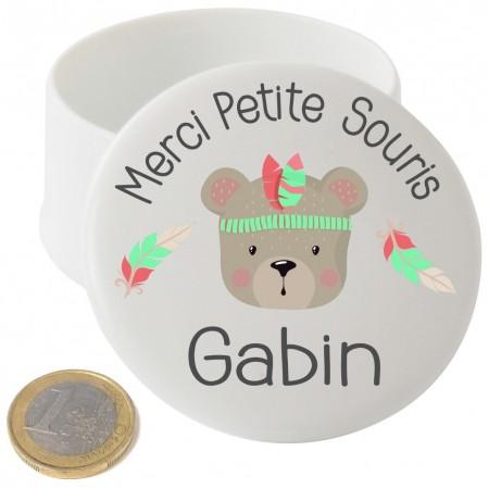Boite à Dents de Lait en Porcelaine plumes garcon - Cadeau personnalise personnalisable - 1