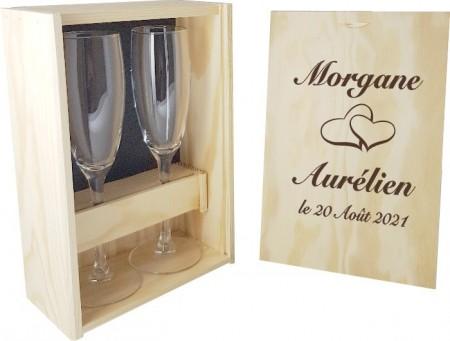2 flûtes Coeurs avec coffret bois - Cadeau personnalise personnalisable - 1