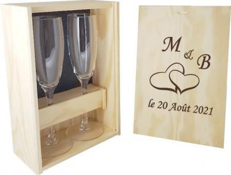 2 flûtes Coeurs Initiales avec coffret bois - Cadeau personnalise personnalisable - 1