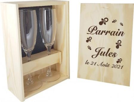 2 flûtes Parrain / Marraine avec coffret bois - Mod. Tototte - Cadeau personnalise personnalisable - 1