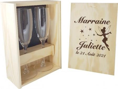 2 flûtes Parrain / Marraine avec coffret bois - Mod.Fée - Cadeau personnalise personnalisable - 1