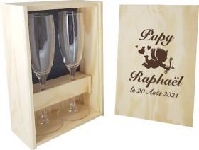 2 flûtes Papy / Mamy avec coffret bois - Ange - Cadeau personnalise personnalisable - 1
