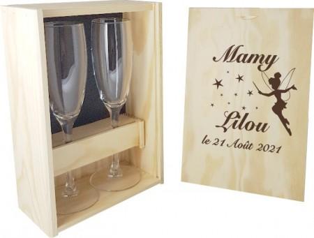 2 flûtes Papy / Mamy avec coffret bois - Fée - Cadeau personnalise personnalisable - 1