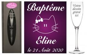 Flûte gravée - verre baptême hello kitty - personnalisé