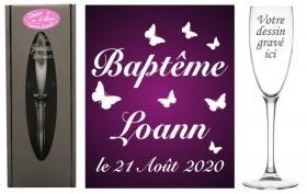 Flûte gravée - Papillon - Cadeau personnalise personnalisable - 1