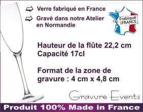 Flûte gravée - Colombes CŒUR - Cadeau personnalise personnalisable - 3