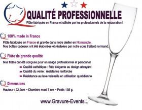 Flûte gravée - Colombes CŒUR - Cadeau personnalise personnalisable - 4