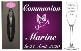 Flûte gravée - Colombe - Cadeau personnalise personnalisable - 1
