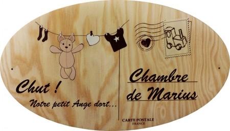 Plaque  de Porte en bois Modèle 6 - Cadeau personnalise personnalisable - 1