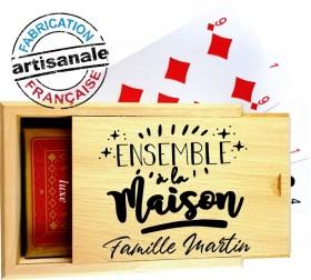 Coffret Bois - Jeu de Cartes - Ensemble à la Maison Gravure Events - Cadeau personnalisé - 1