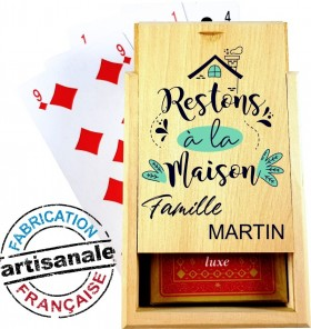 Coffret Bois - Jeu de Cartes - Restons à la Maison - Cadeau personnalise personnalisable - 1