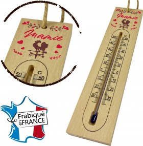 Thermomètre en Bois pour Mamie Mod.1 Gravure Events - Cadeau personnalisé - 1
