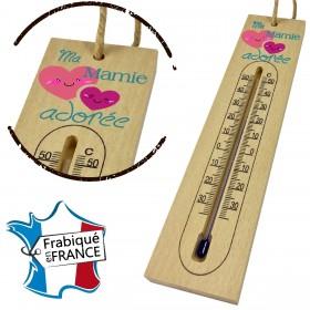 Thermomètre en Bois pour Mamie Mod.10 Gravure Events - Cadeau personnalisé - 1