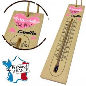 Thermomètre en Bois pour Mamie Mod.13 Gravure Events - Cadeau personnalisé - 1
