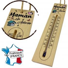 Thermomètre en Bois pour Maman Mod.8 Gravure Events - Cadeau personnalisé - 1